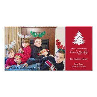 Season's Greetings Tree Photo Cards (Burgandy Red)