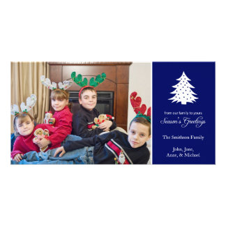Season's Greetings Tree Photo Cards (Navy Blue)