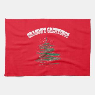 Season's Greetings Tree Snowflakes Kitchen Towel