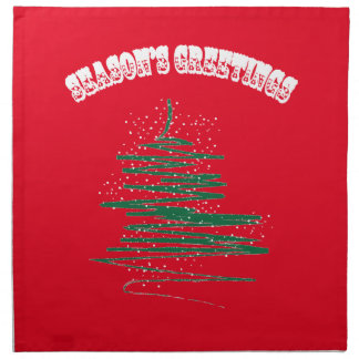 Season's Greetings Tree Snowflakes Napkin