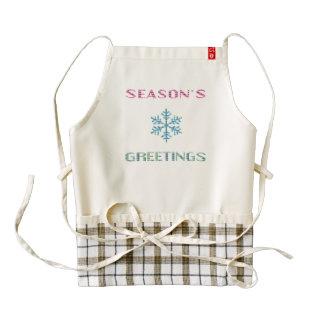 Season's Greetings Triangle Sampler Snowflake Zazzle HEART Apron