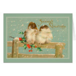 Season's Greetings Two Birds on a Fence Card