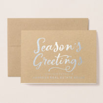 Season's Greetings Typography | Holiday Greetings Foil Card