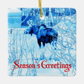 Season's Greetings - Urban Moose Ceramic Ornament