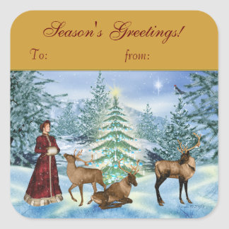 Season's Greetings Victorian Gift Tag Stickers