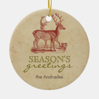Season's Greetings Vintage Christmas Deer Rustic Ceramic Ornament