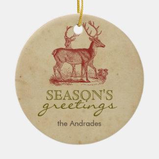 Season's Greetings Vintage Christmas Deer Rustic Double-Sided Ceramic Round Christmas Ornament