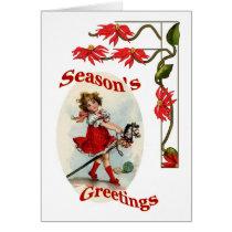 Seasons Greetings Vintage Girl & Poinsettias Card