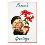 Season's Greetings (vintage poinsettias) Greeting Card