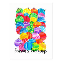 Season's Greetings , watercolor baubles Postcard