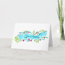 Season's Greetings , watercolor Christmas banner Holiday Card