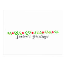 Season's Greetings , watercolor Christmas banner Postcard