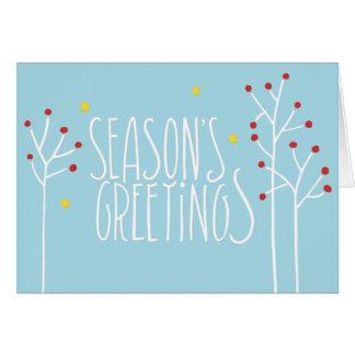 Seasons Greetings white blue Card