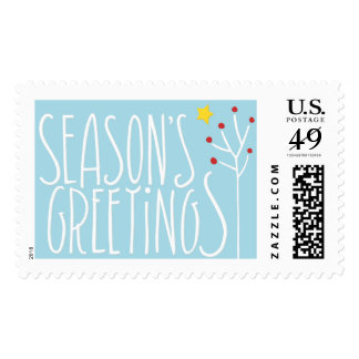 Seasons Greetings white blue Stamp