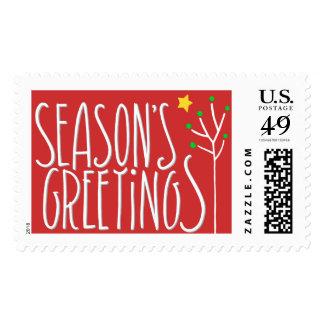 Seasons Greetings white red Stamp