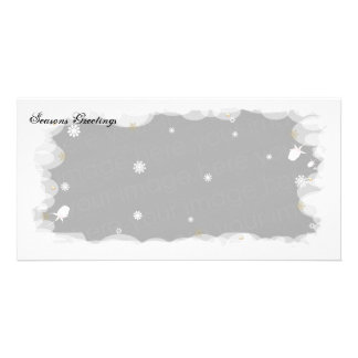 Seasons Greetings White  Roses Card