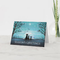 Season's Greetings Winter Sunset Holiday Card