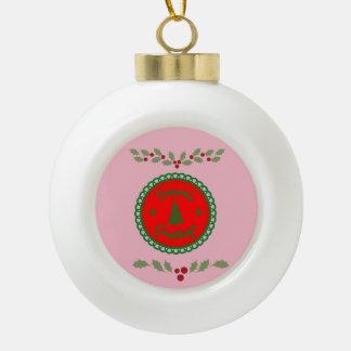 Seasons Greetings With Holly Ceramic Ball Christmas Ornament