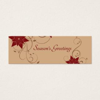 Season's Greetings with Pointsettia Mini Business Card