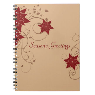 Season's Greetings with Pointsettia Notebook