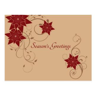 Season's Greetings with Pointsettia Postcard