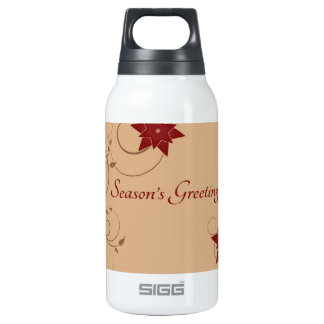 Season's Greetings with Pointsettia 10 Oz Insulated SIGG Thermos Water Bottle