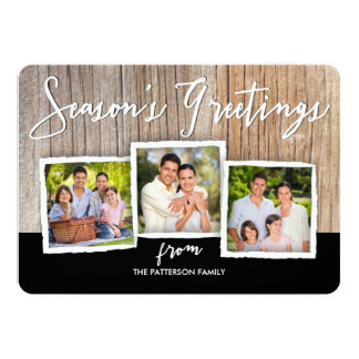 Season's Greetings Woodgrain Photo Collage Card