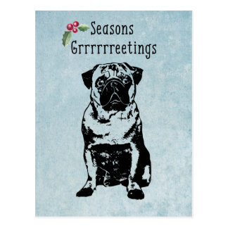 Seasons Grrrrrreetings Dog Christmas postcard