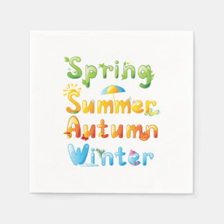 Seasons In Words Playing Cards Napkin