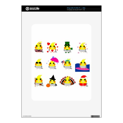 Seasons of Belle Cockatiel bird holiday designs Skins For The iPad