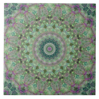 Seasons: Spring Light Green and Purple Mandala Ceramic Tile