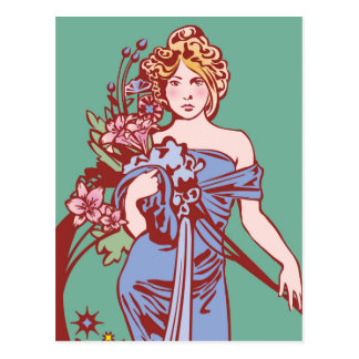 """Seasons: Spring"" Muncha Inspired Original Art Postcard"