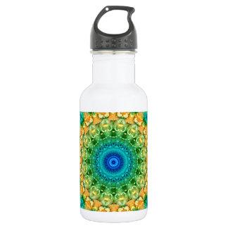 Seasons: Summer Yellow, Green, and Blue Mandala Stainless Steel Water Bottle