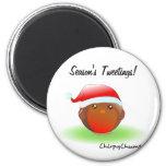 Season's tweetings Christmas Robin 2 Inch Round Magnet