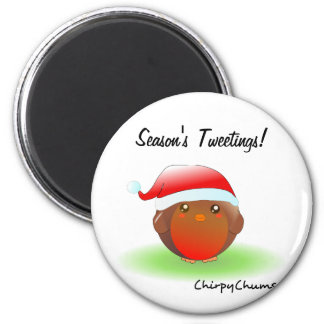 Season's tweetings Christmas Robin Refrigerator Magnets