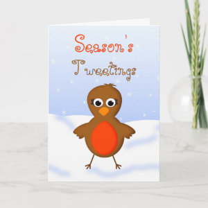 Season's Tweetings Cute Christmas Robin Redbreast card