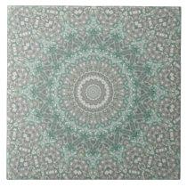 Seasons: Winter Light Teal and Gray Mandala Ceramic Tile
