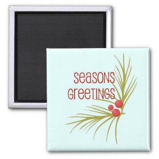 SeasonsGreetings 2 Inch Square Magnet