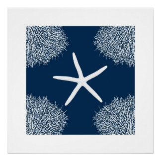 seastar and coral print. poster