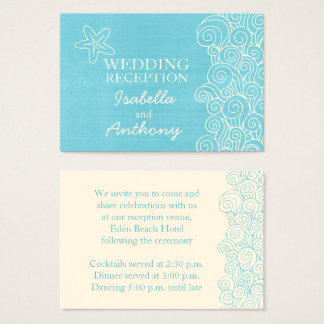 Seastar blue & cream wedding info enclosure card