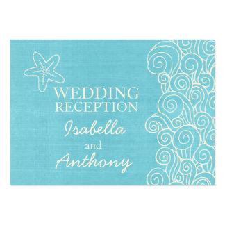 Seastar blue cream wedding info enclosure card business cards