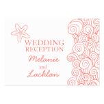 Seastar coral & white wedding info enclosure card business card