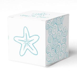 Seastar swirl aqua white wedding favor box
