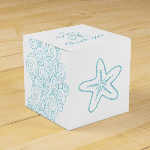 Wedding Favor Boxes White : Seastar swirl aqua white wedding favor box party
