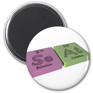 Seat as Se Selenium and At Astatine 2 Inch Round Magnet