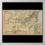 Seat de la guerra civil, mapa 1861 - 1865 impresiones