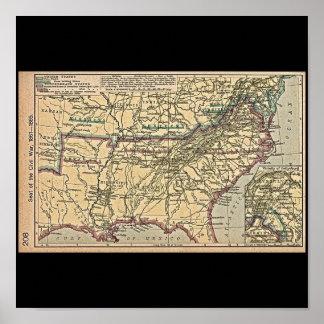 Seat de la guerra civil, mapa 1861 - 1865 póster