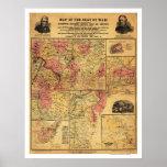 Seat del mapa 1862 de la guerra civil posters
