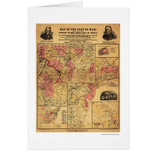 Seat del mapa 1862 de la guerra civil tarjetón