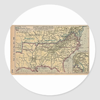 Seat of Civil War, 1861- 1865 Classic Round Sticker